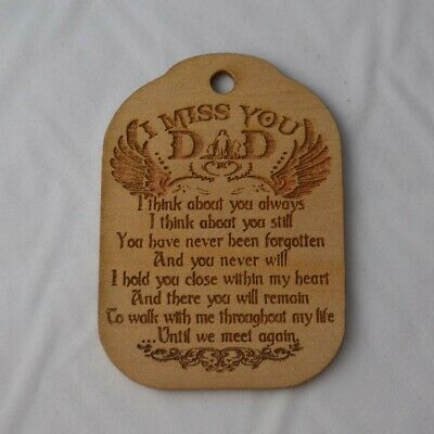 Hanging Decoration Handmade Wood I Miss You Dad In Heaven Gold Xmas