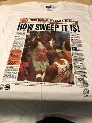 Vtg 90's 1995 Houston Rockets Shirt How Sweep It Is Houston Chronicle NBA FINAL