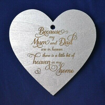 Hanging Decoration Wood Mum & Dad Heaven In My Home Heart Silver Xmas