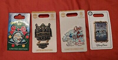 Disney Parks Pins Set o 4 Riviera Resort Happy Holidays Joie de Vivre Mickey NOC