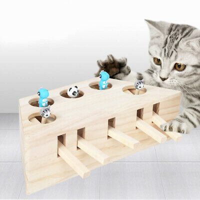 3/5 Holes Whack Mole Mouse Cat Exercise Interactive Teaser Toy Kitten Fun Box
