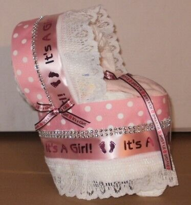 Its A Girl Diaper Cake Bassinet Baby Shower Gift Centerpiece