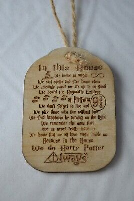 Decoration Handmade Wood Harry Potter Inspired In This House We Do Always