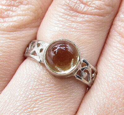 925 Silver over Brass - Cabochon Cut Citrine Filigree Solitaire Ring Sz 7 RG2479