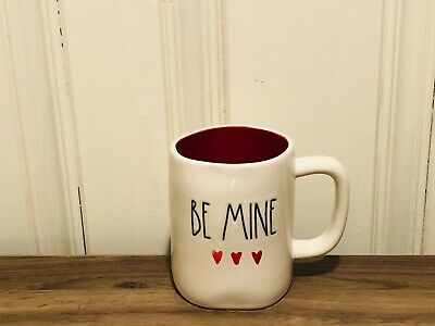 Rae Dunn Valentine's By Magenta Water Coloring Heart BE MINE Red Interior Mug