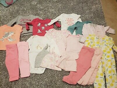 Baby Girl Size 6 months Lot Of 17 Pieces Girls Long  Sleeve Tops Bottoms Outfits