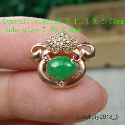 Small Certified  Green 100%Natural A jadeite jade 18K gold Pendant 18K金吊坠