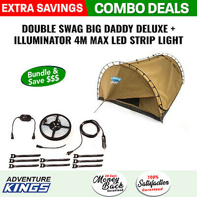 Adventure Kings Double Swag Big Daddy Deluxe + Illuminator 4m LED Strip Light