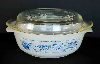Vintage Crown Ovenware casserole dish & lid Old Country Blues Pagoda pattern