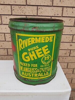 Rare Rivermede Pure Ghee W. Angliss & Co drum