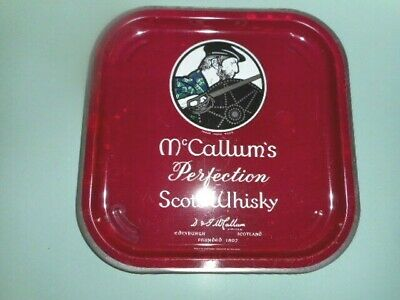 MCCALLUMS PERFECTION SCOTS WHISKY TRAY  METAL VINTAGE 32.5 cm sq. PUB TRAY GC