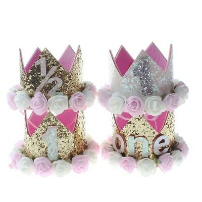 Princess Baby Girl 1st Birthday Flower Crown Party One/&Two Year Hairband Tia ZX