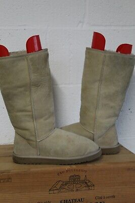 Tan Suede Sheepskin Ugg Australia Classic Tall Boots Size 8.5 Uk Used Condition