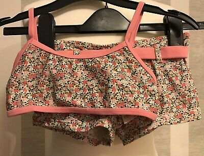 Girls NEXT pink/Khaki Green/Blue Floral Tankini Top/bottoms Age 5-6 Years Old