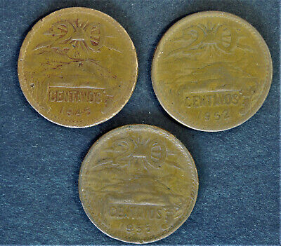 Lot of six  Mexican  5 centavos Josefa Ortiz copper  vintage coin  1943 to 1955