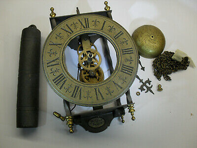 Hermle 8 day mechanical wall clock, vintage but missing pendulum. Tempus Fugit