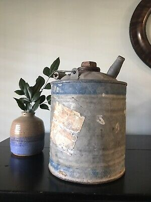 Antique/Vintage SMALL METAL GALVANIZED GAS CAN with SPOUT