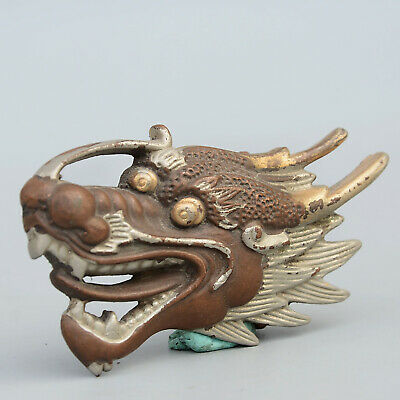 Collectable China Old Red Copper Hand-Carved Myth Dragon Moral Auspicious Statue