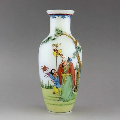 Collectable China Qianlong Years Antique Handpainted Figure & Scenery Decor Vase