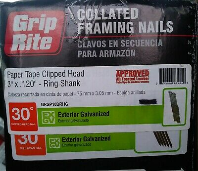 2 x 0.113 Grip Rite Prime Guard GR04HG1M 21 Degree Plastic Strip Round Head Hot Dipped Galvanized Collated Framing Nails