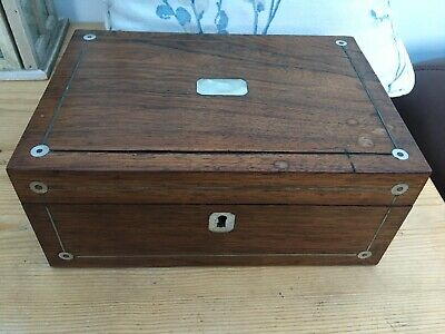 Antique/Vintage Wood Sewing//Keepsake/Jewellery Box with Mother of Pearl Inlay