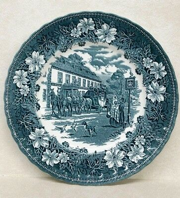 Royal Tudor Ware Staffordshire England Dinner Plate Coaching Taverns 1828