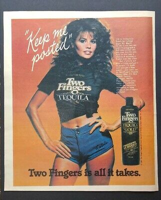 1982 NATALIE CAROLL TWO FINGERS TEQUILA Print Ad Excellent Color (J19)