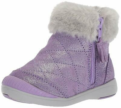 Stride Rite Kids Chloe Girl's Sparkle Suede Bootie Fashion, Purple, Size 12.5 O3