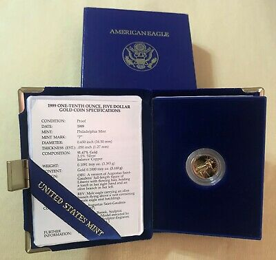 1989 - 1/10 - $5 - American Gold Eagle Proof from The United Sates Mint