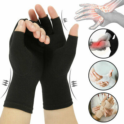 Anti Arthritis Fingerless Gloves Compression Hands Pain Relief Sports Support UK
