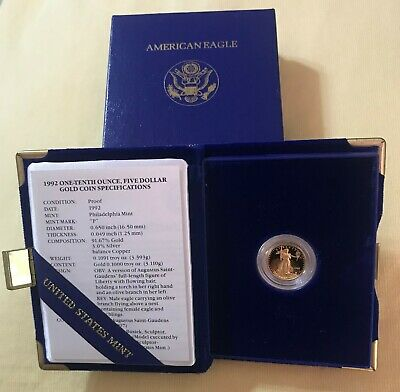 1992 - 1/10 - $5 - American Gold Eagle Proof from The United Sates Mint