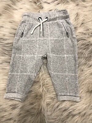 Baby Boys M&s Grey & White Checked Trousers Aged 6-9m