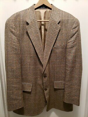 Ralph Lauren Mens 46 T Brown houndtooth Silk Blend  Sport Coat  Blazer EUC