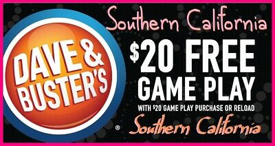 ⭐️ Set of 6 Dave & Buster's BUY $20 GET $20 GAME PLAY ᶜᵒᵘᵖᵒⁿˢ 💙 S. CALIFORNIA ⭐