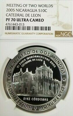 2005 Nicaragua S10C Cathedral De Leon Ngc Pf 70 Ultra Cameo Perfection Finest