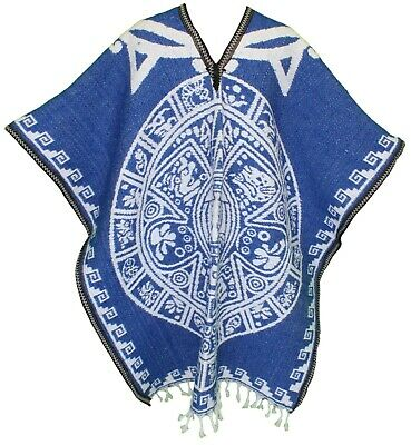 HEAVY BLANKET Mexican PONCHO - Tribal 12 BLUE ONE SIZE FITS ALL Gaban