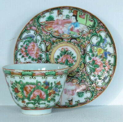 Chinese Canton Famille Rose Mandarin Plate And Cup Set Figures Flowers Birds