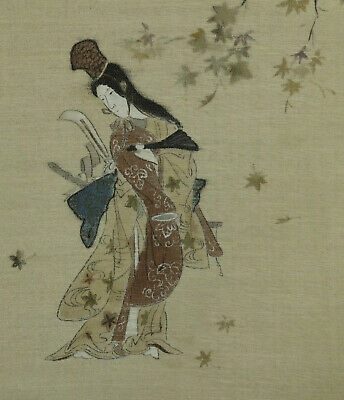 Japanese Hanging Scroll Onna-bugeisha Painting Fine Meiji Period Silk Painting