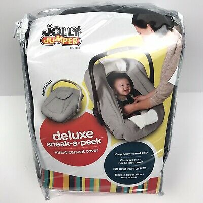 Jolly Jumper Water Repellent Infant Car Seat Cover With Peek a Boo Window Black