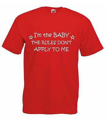 I'm The Baby The Rules Don't Apply To Me Red Kids Tshirt Unisex Brother Sister T