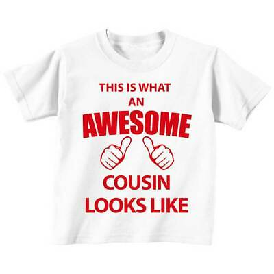 This is What An Awesome Cousin Looks Like White Tshirt Red Text Baby Toddler Kid