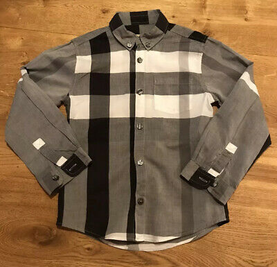 Boys Genuine Grey Check Burberry Long Sleeve Shirt Age 5