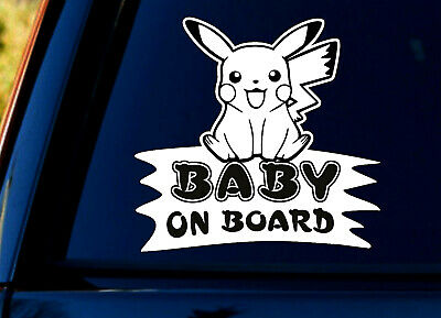 WHITE Baby On Board SELF-ADHESIVE STICKER Sign Child Kids Car Window Pokemon+