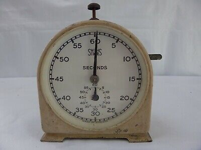 Vintage Smiths Seconds Timer White Metal Mechanical Darkroom Photography Prop