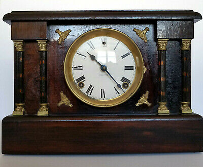 Antique Vintage Sessions Mantel Mantle 8 Day Clock Adamantine Pillars Working