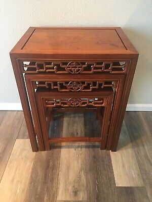 George Zee & Co Ltd Asian Hand Carved Nesting Tables
