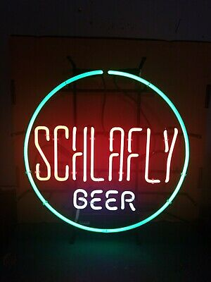 Schlafly Beer Neon light up bar sign man cave game room St.Louis Brew mint & box
