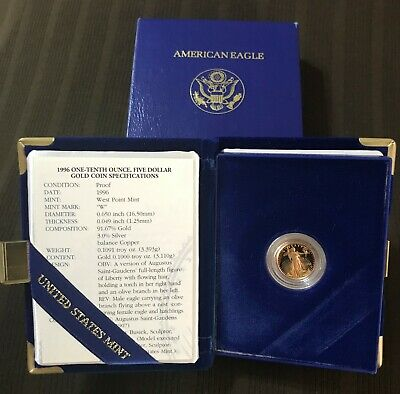 1996 - 1/10 - $5 - American Gold Eagle Proof from The United Sates Mint