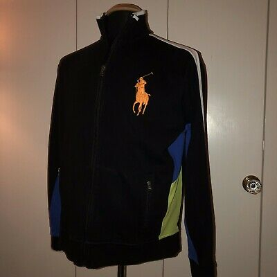 Polo Ralph Lauren Mens Size Large (L) Jacket Full Zip Black Big Pony Logo