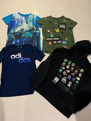 Boys T-Shirt & Hoody Bundle Age 9 Next Minecraft Pokemon Adidas